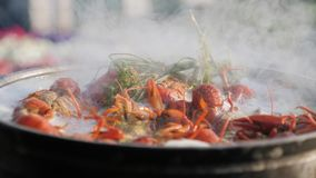 Crayfish cook in water with spices and herbs. Hot Boiled Crawfish. Lobster closeup. Crayfish cook in water with spices and herbs. Hot Boiled Crawfish. Lobster stock video