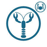 Crayfish and crab icons. Stock Image