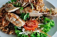 Crayfish fried with garlic pepper. Crayfish fried with garlic pepper on plate Stock Photography