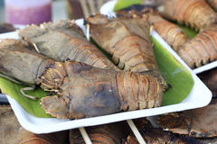 Crayfish grill in the market Stock Photography