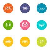 Crayfish icons set, flat style. Crayfish icons set. Flat set of 9 crayfish vector icons for web isolated on white background Royalty Free Stock Photography