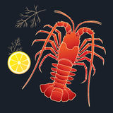 Crayfish with lemon and dill Royalty Free Stock Images