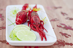Crayfish and lime Royalty Free Stock Images