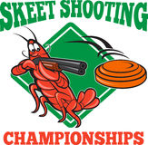 Crayfish Lobster Target Skeet Shooting. Illustration of a crayfish lobster skeet target shooting using shotgun rifle aiming at flying clay disk with diamond Royalty Free Stock Photo