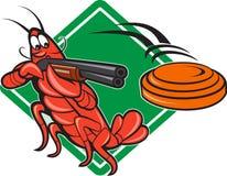 Crayfish Lobster Target Skeet Shooting. Illustration of a crayfish lobster skeet target shooting using shotgun rifle aiming at flying clay disk with diamond Stock Photos