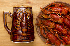 Crayfish with a mug of beer Royalty Free Stock Images