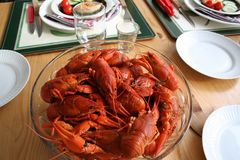 Crayfish for party on laid table royalty free stock photography