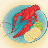 Crayfish on a plate with lemon and green salad Royalty Free Stock Photography
