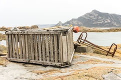 Crayfish pot, Killecrankie, Flinders Island, Tasmania. Crayfish lobster pot at Killecrankie on Flinders Island in the Furneaux archipelago off the northern coast stock photos
