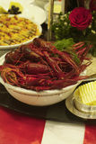 Crayfish and shrimps. On a party-decorated table. Shallow depth of field Royalty Free Stock Photos