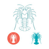Crayfish silhouette and flat icon Royalty Free Stock Images