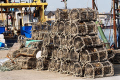 Crayfish traps in harbor Stock Image