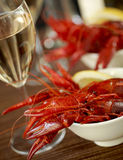 Crayfish and wine Royalty Free Stock Photo