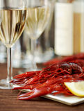 Crayfish and wine Stock Images