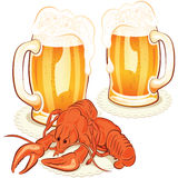 Crayfish and wine glass with the beer Stock Photo