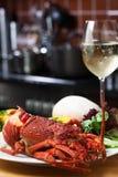Crayfish and wne Royalty Free Stock Image