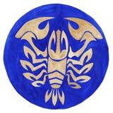 Crayfish Zodiac Symbol. Watercolor Illustration.The zodiac icon. Astrology.