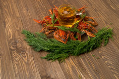 Crayfishes with beer and dill Royalty Free Stock Images