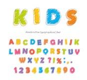Crayon карандаша шрифта для детей Рукописный, scribble вектор Стоковая Фотография