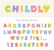 Crayon карандаша шрифта Childly стиль рукописно Изолировано на белизне Стоковые Фото