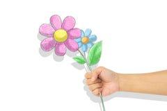 Crayon цветка в руке Стоковое Изображение