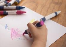 Crayon. Kid with crayons Royalty Free Stock Photos