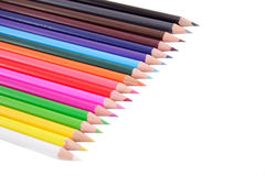 Crayon. Set consisting of eighteen multi-coloured pencils. A white background Royalty Free Stock Image