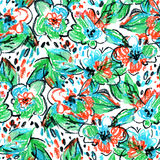 Crayon abstract flowers and leaves background. Royalty Free Stock Images