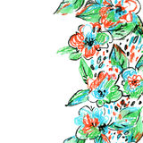 Crayon abstract flowers and leaves background. Royalty Free Stock Photography