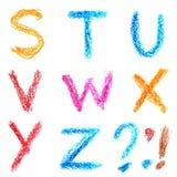 Crayon alphabet, Lettrs S - Z Stock Image