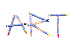 Crayon Art. Crayons Spelling Out The Word Art Stock Photo