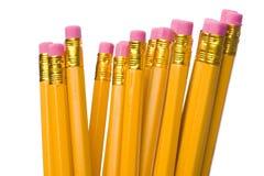 Crayon avec la gomme à effacer sur le blanc Image libre de droits