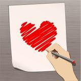 Crayon avec le coeur Photographie stock libre de droits