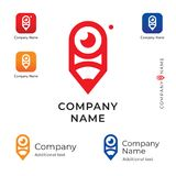 Crayon avec un logo créatif d'oeil pour le message publicitaire de marque d'identité de Modern Company et le calibre réglé de con Image libre de droits