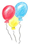 Crayon balloons Stock Images