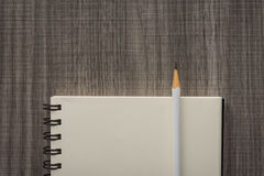 Crayon blanc avec le carnet vide Image stock