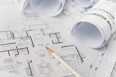 Crayon blanc sur architectural pour des dessins de construction images libres de droits