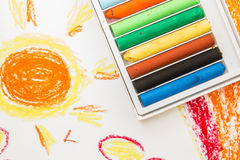 Crayon box on art background Royalty Free Stock Photos