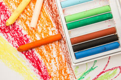 Crayon box on art paper Royalty Free Stock Photo