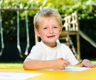 Crayon boy Royalty Free Stock Photography