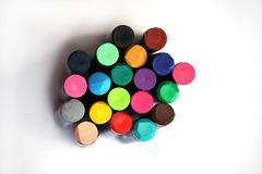 Crayon bright colours. Different colours of crayon on a white background Stock Image