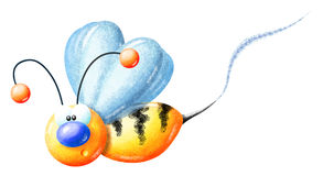Crayon Buzzy Bee Side View Royalty Free Stock Photos