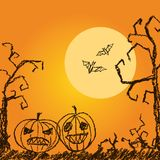 Halloween orange background with spooky naked trees, moon, bat and pumpkin. Crayon, chalk pastel or pencil hand drawn simply grunge horror illustration Royalty Free Stock Photo