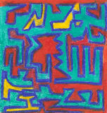 Crayon Chaos. Abstract raster-based unbroken line crayon painting with red, yellow, blue and aqua colors Royalty Free Stock Photos