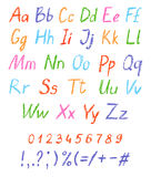 Crayon child`s drawing alphabet. Pastel chalk font. ABC drawing letters. Kids drawn colorful alphabet. Vector Royalty Free Stock Image