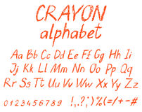Crayon child`s drawing alphabet. vector illustration