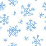 Crayon child`s drawing merry christmas snowflake pattern on white. Hand painting pastel chalk. Kids drawing seamless background. Repeat christmas snow royalty free illustration
