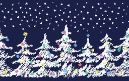 Crayon child`s drawing merry christmas tree pattern with snow. Hand painting pastel chalk green color. Stock Image