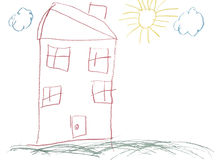 Crayon childlike hand drawn picture of house. Crayon childlike hand drawn painting of a house Stock Photos