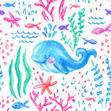 Crayon childlike marin seamless pattern. Underwater sea, ocean life childish drawing. Cute whale, fishes, starfish, corals on white background. Hand drawn Royalty Free Stock Photos